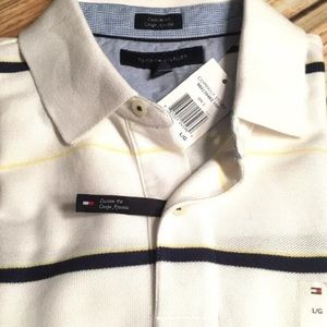 NWT, Tommy Hilfiger White Striped Polo Logo size L